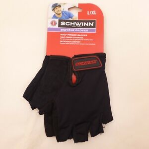 Schwinn Adult Large / XL Half-Finger Black & Red Bicycle Cycling Bicycle Gloves