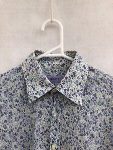 ☘️ Mens Liberty London Cotton Long Sleeve Floral Print Shirt Size 15.5 39 XS