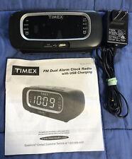 Timex T2351B Fm Dual Alarm Clock Radio with Usb Charging Port Digital Tuning