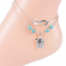 Barefoot Sandal Beach Foot Jewelry Turquoise Turtle Pendant Anklet Chain