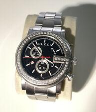 Gucci Chrono 101M Stainless Steel Men's Watch Diamond Bezel 1 Plus Ct