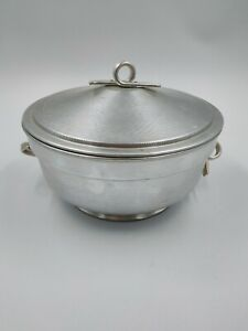 Brushed & Hammered Vintage Aluminum Serving Covered Dish - Made In Italy IC-2