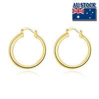 Wholesale 18K Yellow Gold Filled Round Hoop Earrings 7mm Women's Elegant Gift