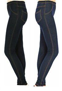 Womens Stretchy Denim Look Skinny Jeggings Leggings Ladies Legging Plus Size