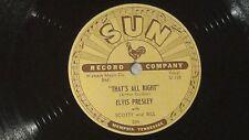 """Elvis Presley Original 1954  Sun Record #209 """"That's All Right"""" 78rpm"""