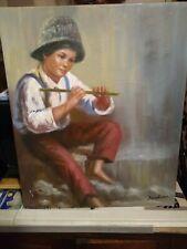 Vintage  Impressionist Oil Painting of a boy. Dawkins