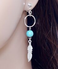 #E121K Ladies Men CLIP ON Dangle Feather Turquoise Bead Hoop Earrings 6.5cm Long
