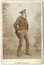 photo cdv cab. / portrait de comédien à la pipe / Humour Chambéry 1880 chapeau