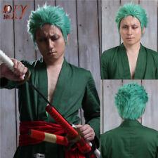 ONE PIECE Anime Wavy Hair Roronoa Zoro Cosplay Layered Short Green Wig Halloween