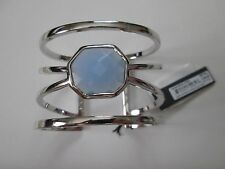 NWT Auth Vince Camuto Blue Stone Silvertone Caged Statement Cuff Bracelet $68