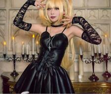 Death Note Misa Amane Black dress with gloves stockings neckwear Cosplay Costume