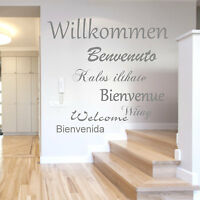 Wandtattoo Willkommen Welcome Sprachen Flur Wandtatoo Wandaufkleber Wortwolke