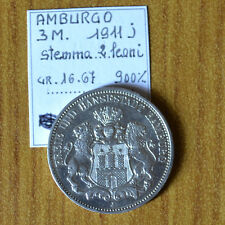 MONETA GERMANIA AMBURGO 3 MARK 1911 J STEMMA 2 LEONI RARA ARGENTO 900 16,67 gr