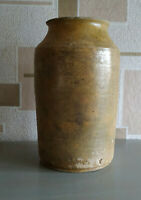 Antique Storage Crock Jar  Glazed Yellow Stoneware Ceramic Pottery Food storage