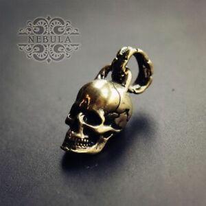 New Handmade Brass Skull Keychain Pendant Key Ring Gift