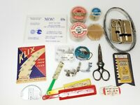 Vintage Set of 17 Sewing Accessories Snaps Threader Scissors Shoe More