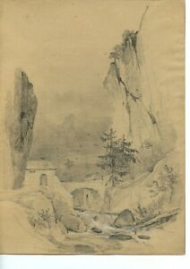 1879: A Bridge in the Mountains, Romantic Landscape Drawing, Fine Listed Artist