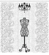 Female Dress Mannequin Black Chandelier Lace Woman Fashion Theme Shower Curtain