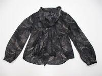 SEMANTIKS Blouse Top Women's Size S Button Front Black Speckle Tie Neck K1525