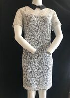 BNWT MICHAEL KORS Floral Lace Effect Black Collar Shift Dress Size 12 RRP £200