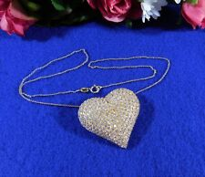 Sterling Gold Plate Vermeil Heart Necklace Pendant Rhinestones 925 Italy Chain