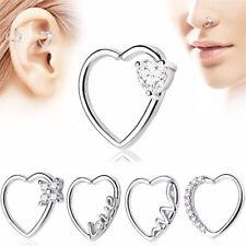 Pair Nose Ring Hoop Ear Cartilage Helix Tragus Rook Snug Daith Piercing 18G Gems
