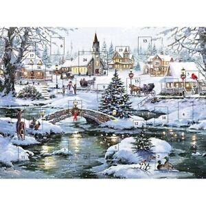 "Traditional Glitter Advent Calendar Snowy Christmas Village 12"" x 9"""
