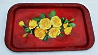 Vintage Red Metal Serving Lap Trinket Tray Platter with Yellow Rose Flowers