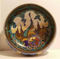 Signed 1920's Gouda Made In Holland Hand Painted Bowl Art Deco Art Nouveau