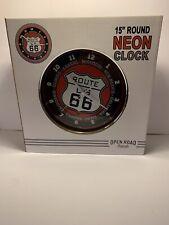 """Route 66 Neon Clock 15"""""""