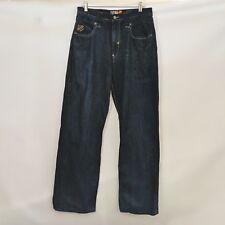 Akademiks Jeans Mens 34x31 Dark Wash Embroidered Denim Cotton Green Design