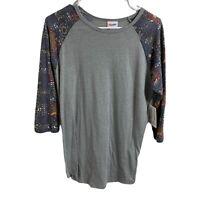 NWT Lularoe Randy Raglan T-shirt Baseball Style Women's Size Small New Gray Top