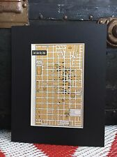"City Map of Salt Lake Utah 1958 Mid Century Black Matted 8""x10"" Art Print travel"