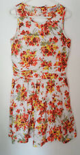 ASOS Petite Floral Short Dress Orange Open Back Size 10 Sleeveless Cotton