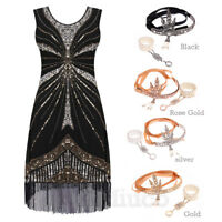 Vintage 1920's Flapper Dress 20's Great Gatsby Prom Gown Sequins Tassels Dresses