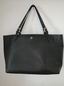Tory Burch black safiano leather XL tote shoulder bag