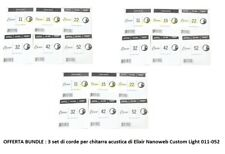 Elixir 80/20 3 set di corde per chitarra acustica Nanoweb Custom Light 011-052