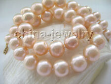 """P4430 - AAA 17.5"""" 9-10mm natural pink perfect round freshwater pearl necklace -"""