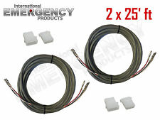 2x 25' ft Strobe Cable 3 Conductor Wire AMP Power Supply w/ Connector for Whelen