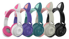 Bluetooth Wireless Cat Ear Headsets Led w/Mic Headphones For Kids Girls