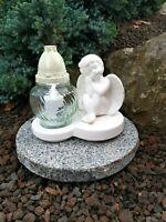 Grablaterne + Granit Sockel + LED Kerze Grablampe Grableuchte Engel Grablicht