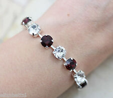 Burgundy Bracelet Maroon Silver Made With Swarovski Crystal Tennis Gift Mom