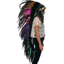 Extra Long Native American Indian style Feather Headdress - Electric Rooster