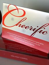 New Boxed/14 Papyrus Holiday Cards Cheerific Dictionary Definition Fun/Party