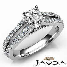Asscher Diamond Split Shank Set Engagement Ring GIA E VVS2 18k White Gold 1.36Ct