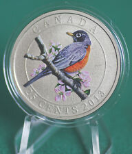 2013 CANADA 25 cent Coloured Coin - American Robin - coin only