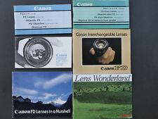 6x Anleitungen Canon FD Objektive / Manuals on FD lenses (english)
