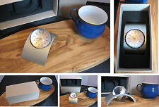 chrome and silver globe analogue desk clock in gift box  rear holds photo frame
