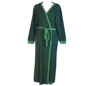 Vintage Victorias Secret Green Blue Cotton Knit Long Robe Dressing Gown Small