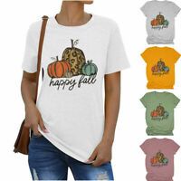 Women Leopard Pumpkin Happy Fall Tee Casual Short Sleeve Blouse Top T-Shirt